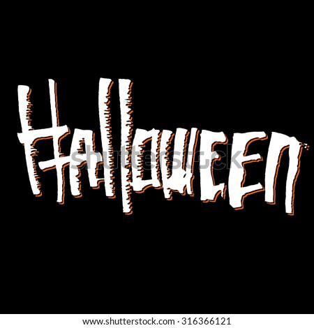 Halloween themed calligraphic hand written ink lettering - stock vector