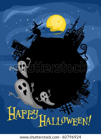 Halloween-themed Frame Featuring Ghosts and a witch in an Abandoned City - Vector - stock vector