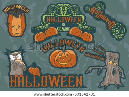 Halloween themed illustrations of owl and pumpkin labels