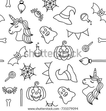 Halloween Things Unicorn Black Outline Seamless Stock Vector ...