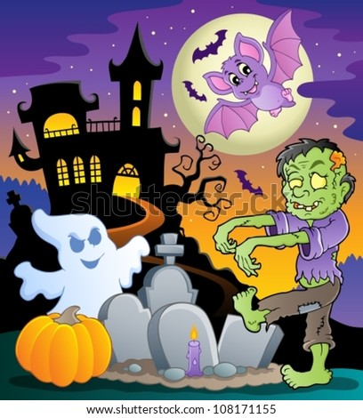 Halloween topic scene 1 - vector illustration. - stock vector