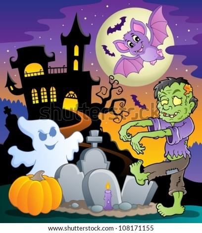 Halloween topic scene 1 - vector illustration. - stock vector