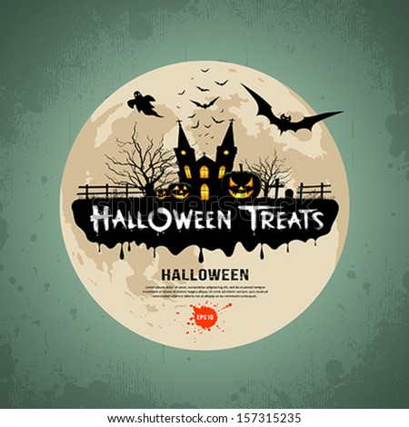 Halloween treats message design background, vector illustration - stock vector