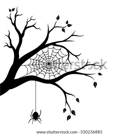 halloween tree branch and spider web vector illustration - Black Halloween Tree