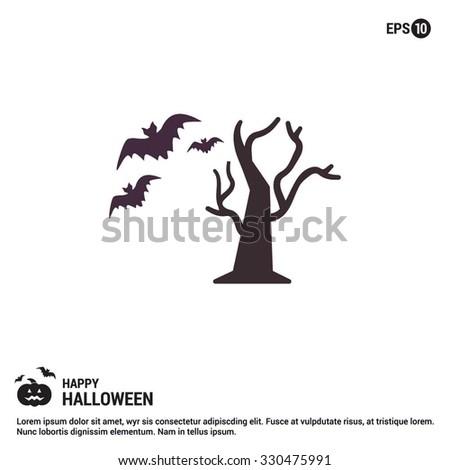 Halloween Tree icon. Halloween Flat elements collection.  simple minimal, flat, solid, mono, monochrome, plain, contemporary style. Vector illustration web internet design elements - stock vector