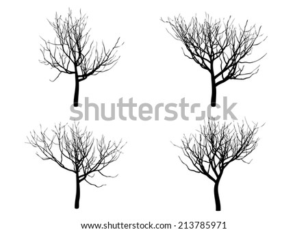 Halloween tree Silhouette isolated on white background (Extended upward)
