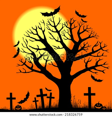 Halloween trees with bats and moon. Vector illustration  - stock vector