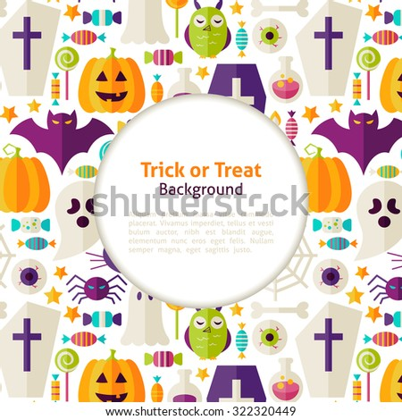 Halloween Trick or Treat Background. Flat Style Vector Illustration for Halloween Party Promotion Template. Colorful Objects for Advertising. Corporate Identity with Text - stock vector