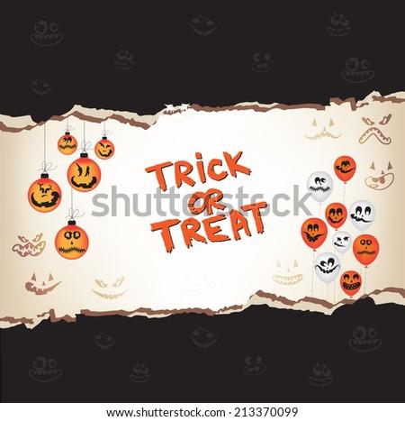 Halloween trick or treat paper - stock vector