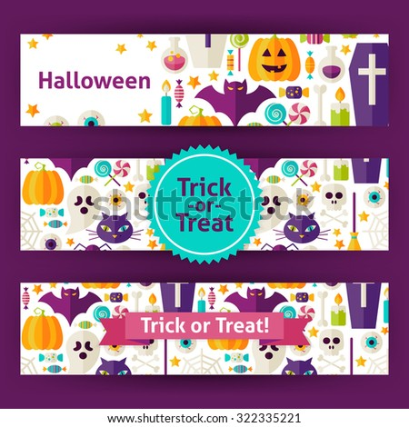 Halloween Trick or Treat Template Banners Set in Modern Flat Style. Design Vector Illustration of Brand Identity for Halloween Party Promotion. Colorful Pattern for Advertising - stock vector
