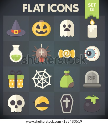 Halloween: Universal Flat Icons for Web and Mobile Applications Set 13 - stock vector