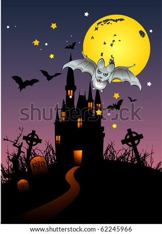 halloween vampire and hounted castle