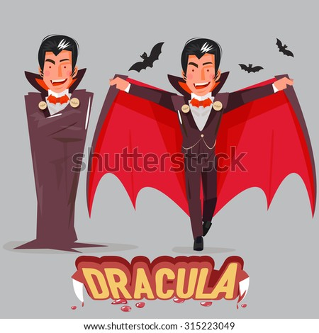 Halloween vampire character design with typographic treatment of word Dracula. vector illustration - stock vector