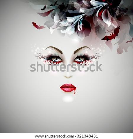 halloween vampire lady - stock vector