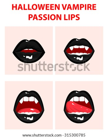 Halloween vampire set of 4 sexy open mouths, tongue hanging out, black erotic seductive lips, passion, fangs - stock vector