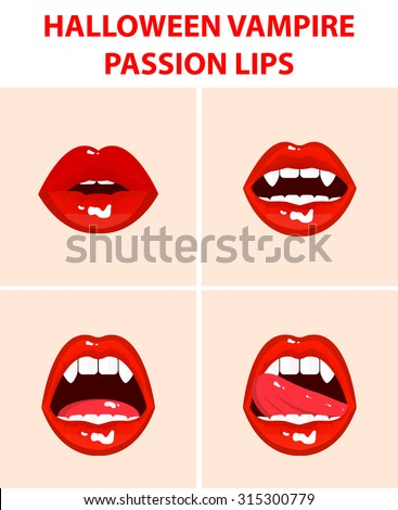 Halloween vampire set of 4 sexy open mouths, tongue hanging out, red erotic seductive lips, passion, fangs - stock vector