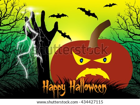 Halloween vector background concept template scary graveyard with spooky pumpkin,flying bats,dead tree,thunder bolt and zombie hand raising.