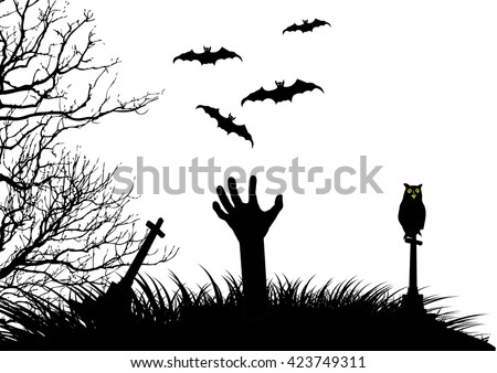 Halloween vector background on white isolated concept template scary graveyard with cross and zombie hand raising. - stock vector