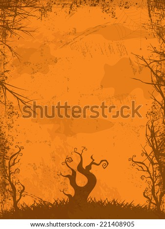 Halloween Vector Background with Grunge and Trees