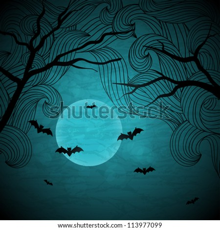Halloween vector background with moon and bats. - stock vector