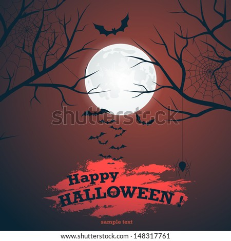 Halloween vector background with moon, bats and cobwebs - stock vector