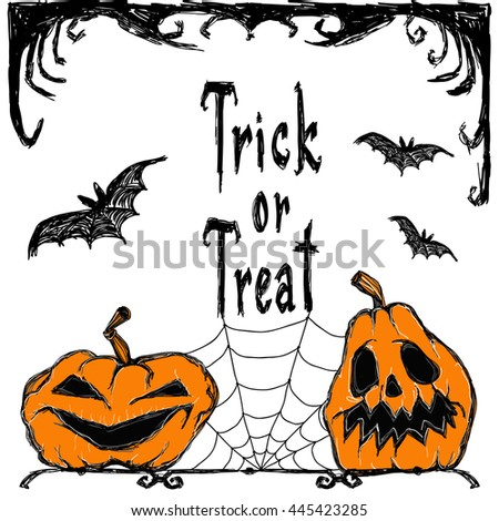 Halloween vector card. Bats fly, pumpkins, spiderweb, creepy elements and letters. Drawing and lettering is handmade are made with black ink on white background. This useful to poster, invitations.  - stock vector