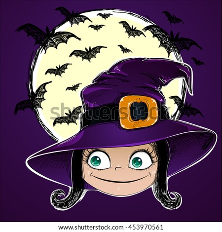 Halloween vector card. Little Witch, bats and moon on dark background. This useful to poster, card, invitation for party, coloring book. - stock vector