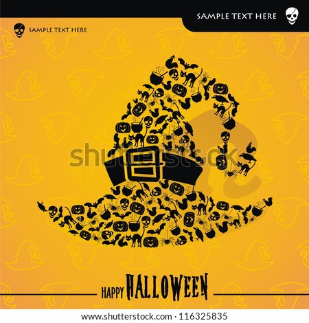 Halloween vector card or background - stock vector