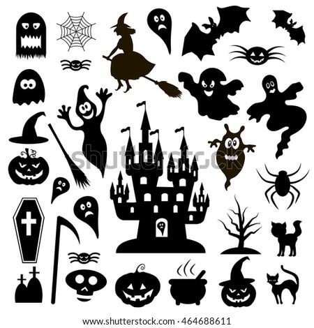 Halloween Icons Halloween Background Stock Vector 153280487 ...
