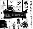 Halloween vector icons set. Design elements. - stock vector