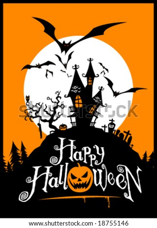 Halloween vector illustration. Edit the colors as you want. - stock vector