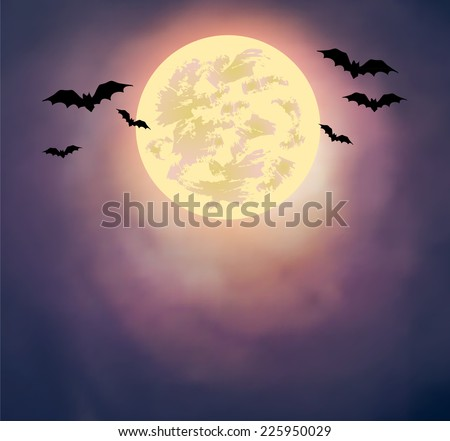 Halloween vector illustration - full moon and bats on watercolor sky. - stock vector