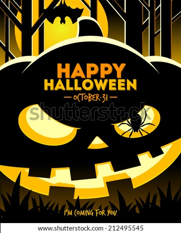 Halloween vector illustration - jack-o-lantern smiling pumpkin in the night forest - stock vector