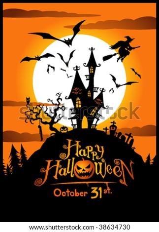 Halloween vector illustration. No mesh. - stock vector