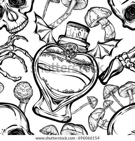 Halloween Vector Illustration Potion Skull Mushrooms Stock Vector