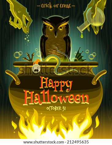 Halloween vector illustration - witch cooks poison potion in cauldron - stock vector
