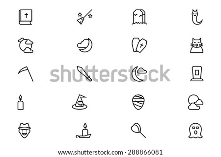 Halloween Vector Line Icons 5 - stock vector