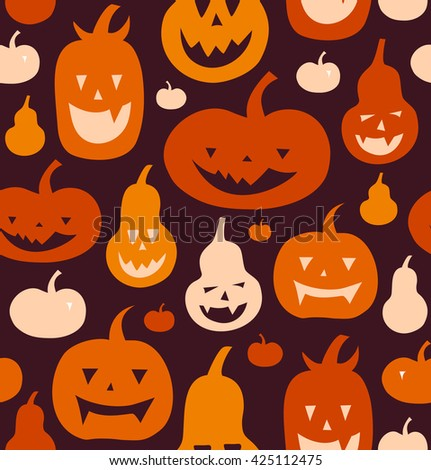 Halloween vector seamless pattern with angry silhouettes. Decorative background with funny drawing pumpkins. - stock vector