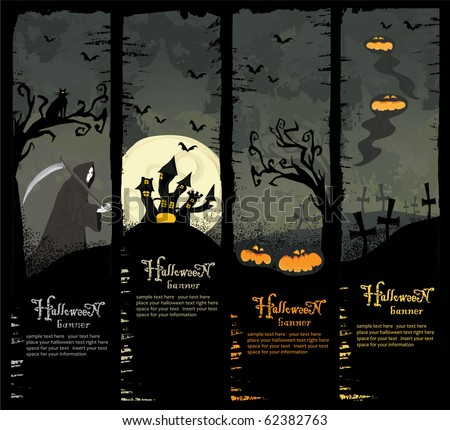 Halloween vector series. Set of four Halloween banners. Standard size.