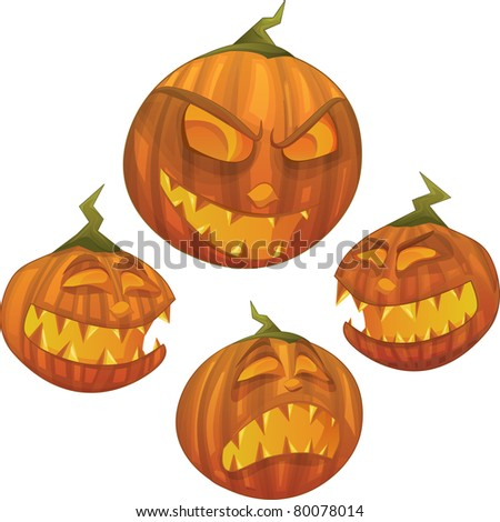 Halloween vector series.Vector Halloween pumpkin character with different face expressions: scared, evil, scary, happy - stock vector