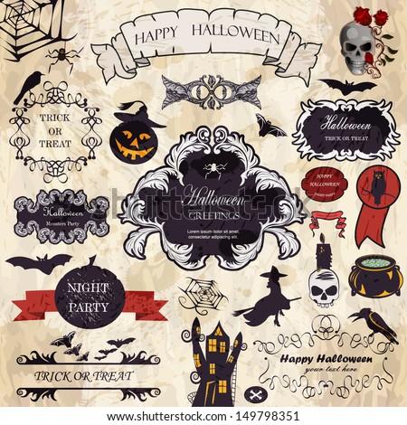 Halloween  vector set: Halloween design elements and floral frames. - stock vector