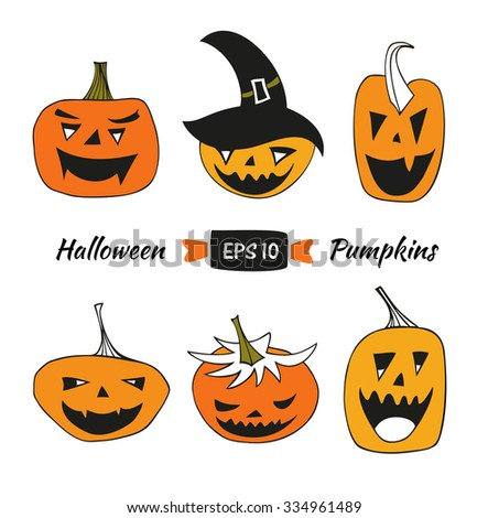 Halloween vector set with angry pumpkins. Decorative collection with isolated drawing pumpkins - stock vector