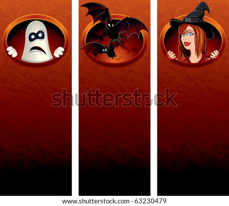 Halloween vertical banners with cartoon illustrations for your text or greeting - stock vector