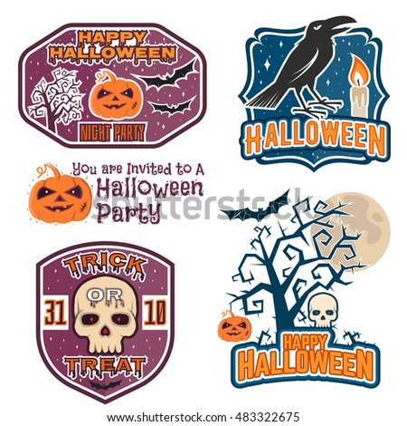 Halloween vintage badges, emblems or labels. Vector illustration. Invited to a Halloween party with bat, ghost, skull and pumpkin. For print on t shirt, tee, card, invitation, template.