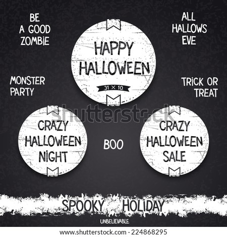 Halloween vintage emblem and letterings for spooky holiday. Vector eps 10 - stock vector