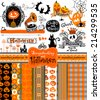 Halloween vintage objects - scrapbook collection. 7 seamless backgrounds. vector illustration  - stock vector