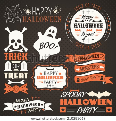 Halloween vintage set - labels, ribbons and other decorative elements. Vector illustration. Black, white and red colors. - stock vector