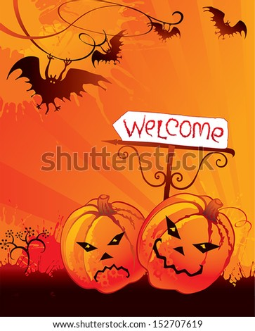 Halloween welcome card with pumpkin