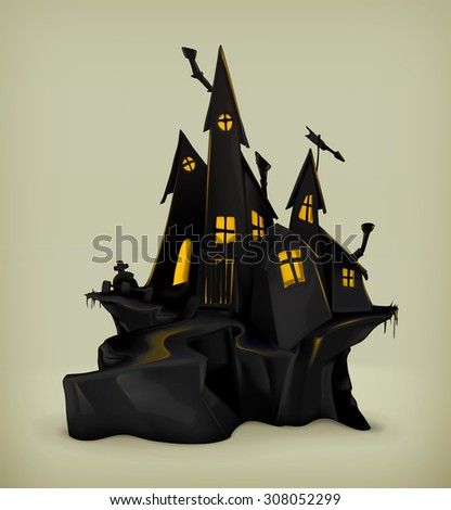 Halloween, witch castle vector silhouette - stock vector