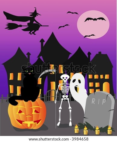 Halloween witch, cat and skeleton with pumpkin, vector illustration - stock vector